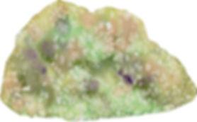 苔むす岩1(塩を使って)水彩画