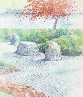 浄景(鎌倉・光明寺)水彩画