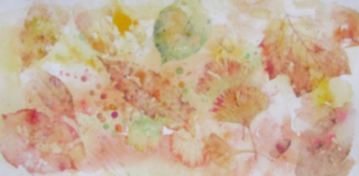 うつろいの譜(舞い散る紅葉)水彩画 福井良佑