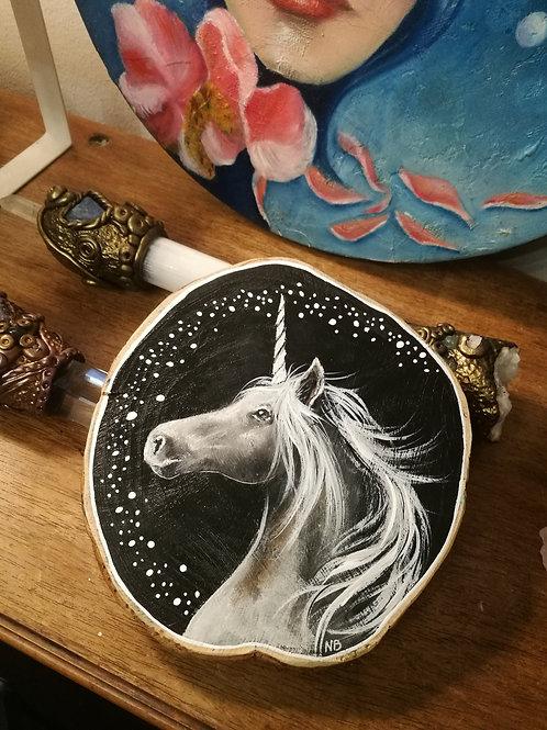 Tree slice painting unicorn RESERVED