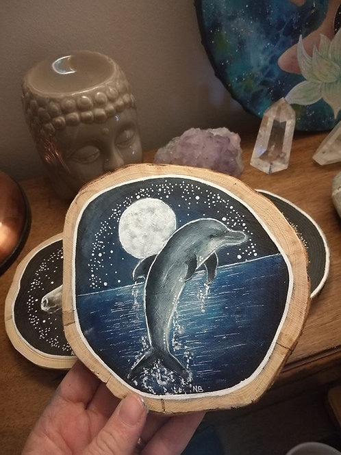 Reserved for K !! Sacred Soul Tree Slice Painting Dolphin