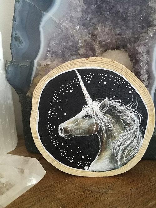 Sacred Soul Tree Slice Painting Unicorn