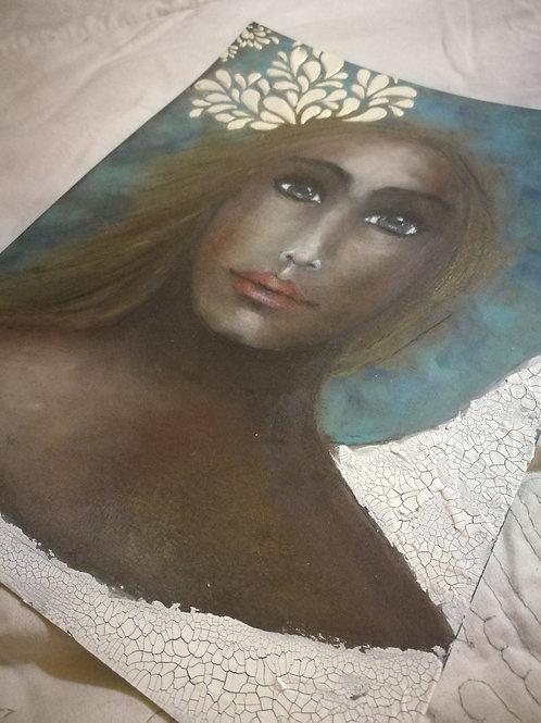 Angel in oil pastel