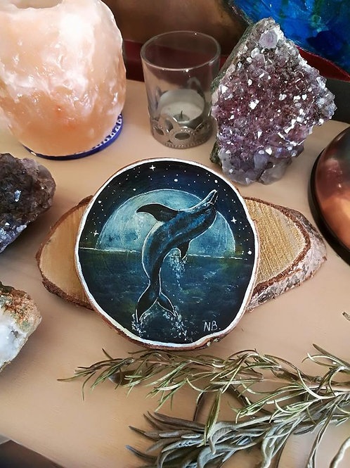 Sacred Soul Tree Slice Painting Dolphin