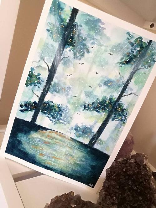 Original Painting Watercolor Gateway