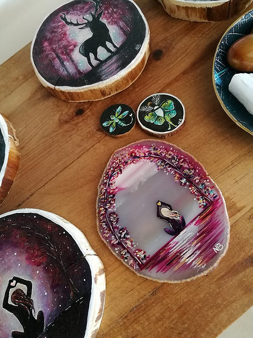 Sacred Soul Agate Geode Slice Painting Safe and Loved