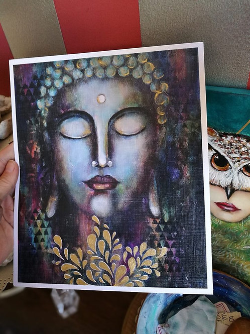 Print Buddha - Hand Embellished with gold leaf paint !