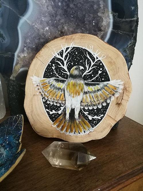 Sacred Soul Tree Slice Painting Hawk