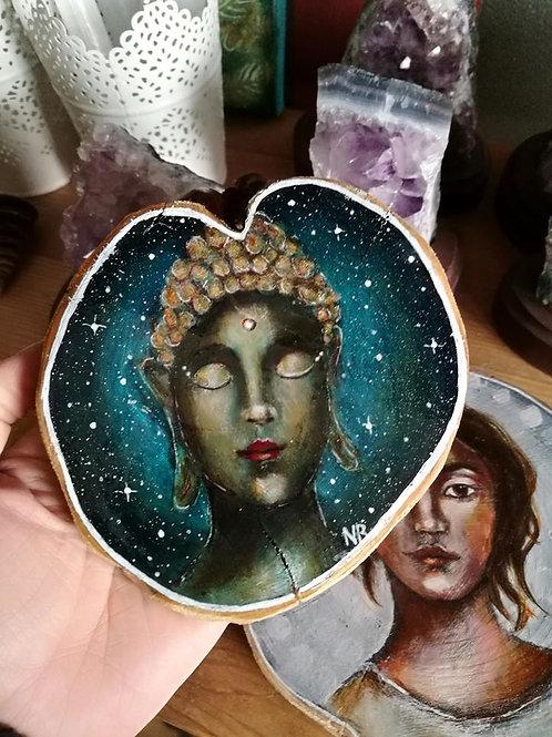 Tree Slice Painting Buddha