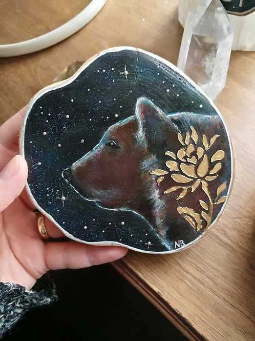 RESERVED Sacred Soul Tree Slice Painting Bear RESERVED
