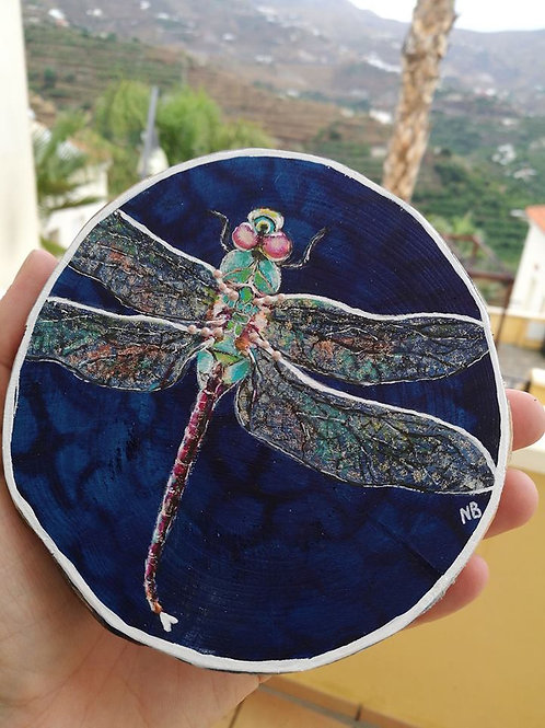 Reserved for B !! Sacred Soul Tree Slice Painting Dragonfly