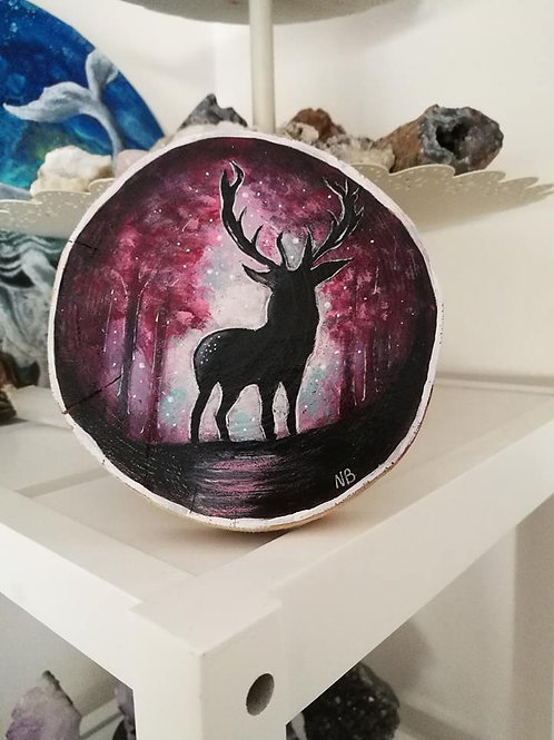 Sacred Soul Tree Slice Painting Deer