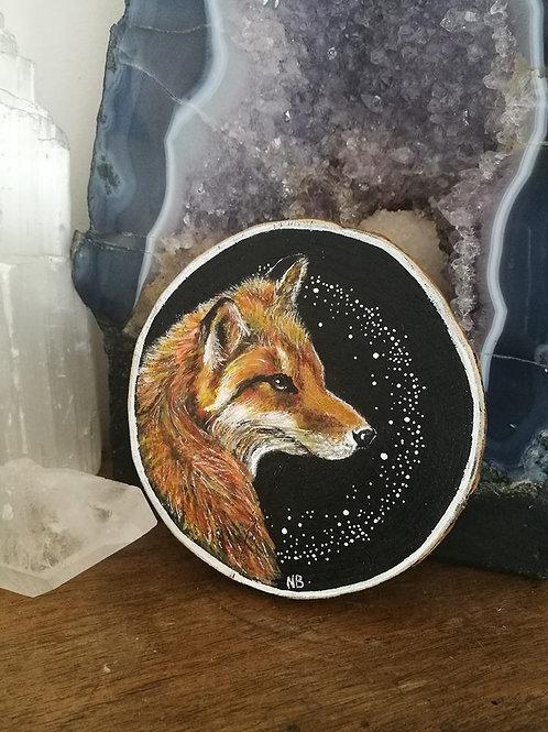 Sacred Soul Tree Slice PaintingFox