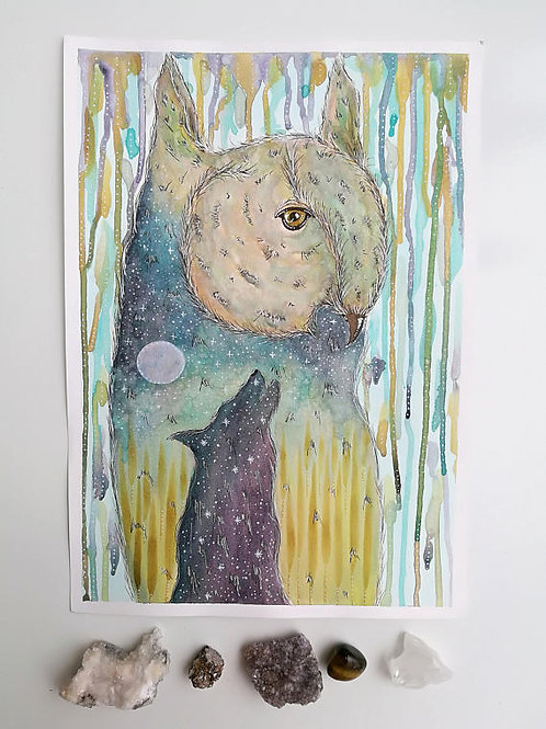 Original Painting Owl and Wolf