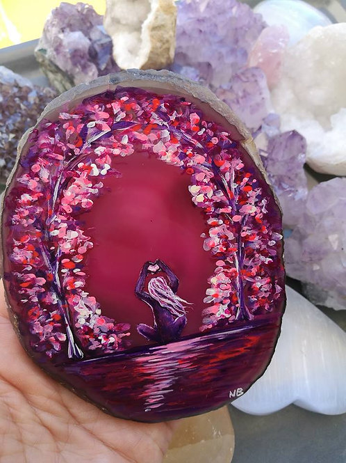 Sacred Soul Agate Geode Slice Painting Safe and Loved * RESERVED * for C