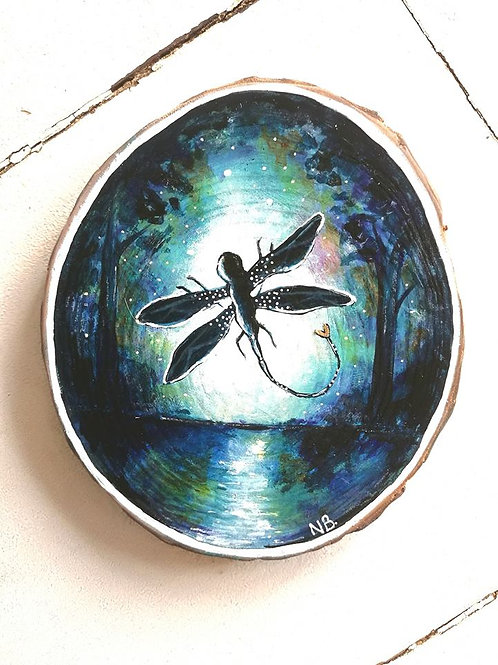 Sacred Soul Tree Slice Painting Dragonfly