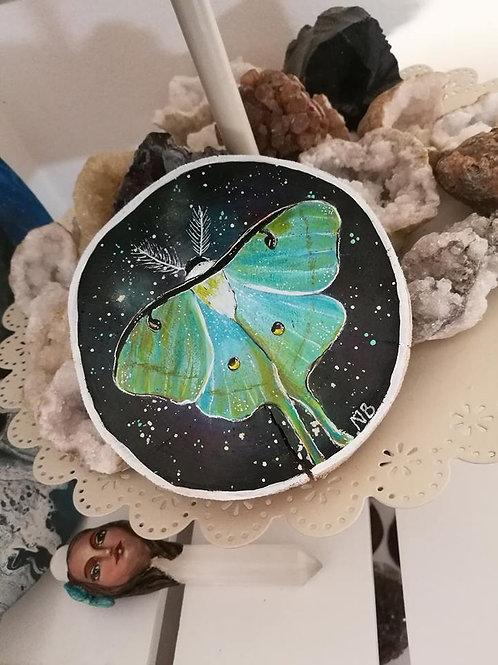Sacred Soul Tree Slice Painting Luna Moth