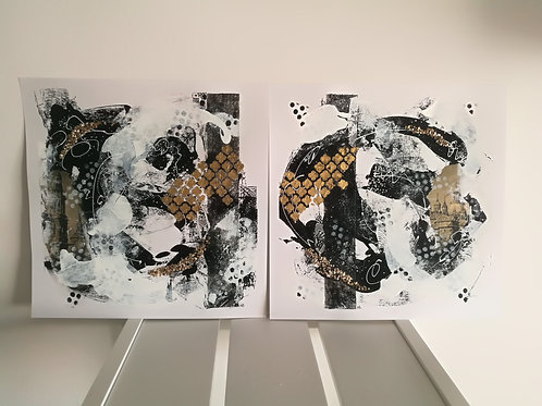 Set of 2 abstract paintings
