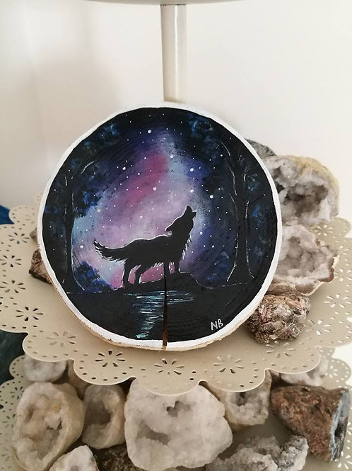 Sacred Soul Tree Slice Painting Wolf