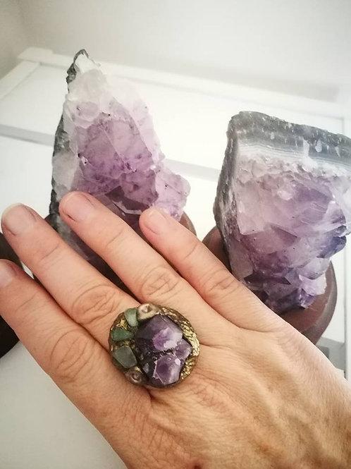 Sacred Soul Crystal Ring Amethyst / Aventurine