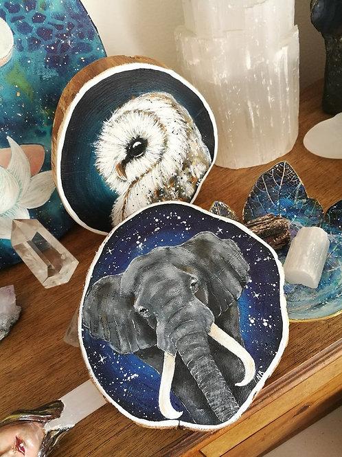 Tree slice painting Elephant
