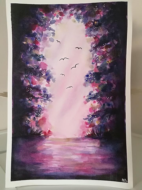 Original Painting Watercolor Gateway
