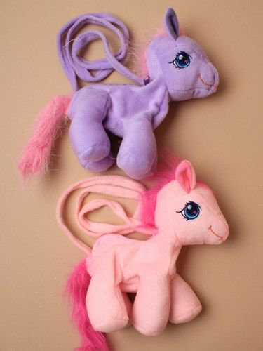 Plush pony zip hand bag