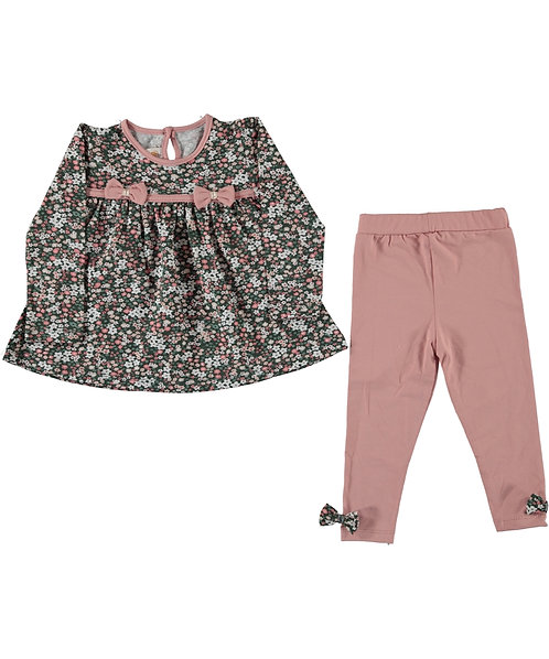 Girls Floral Set (Powder Pink)
