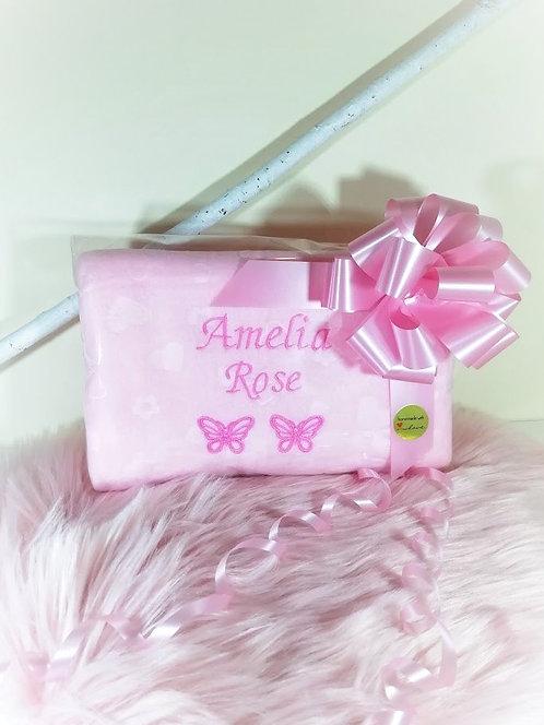 Personalised Baby Blanket with 2 Names & Butterflies