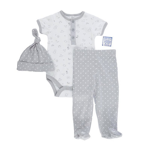 Baby Boy Bodysuit & Pants & Hat Set (NB-9 Months)