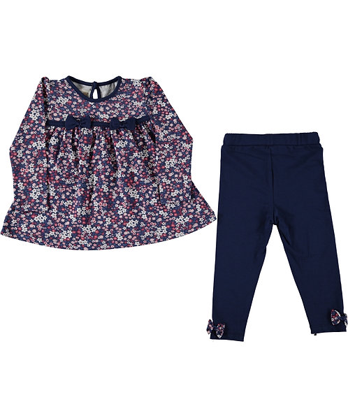 Girls long sleeve top and legging set, navy blue, floral print