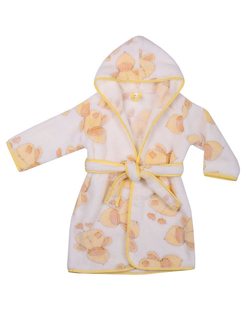 White Baby, Toddler Robe,  Dressing Gown, White with Yellow Ducks, Hooded