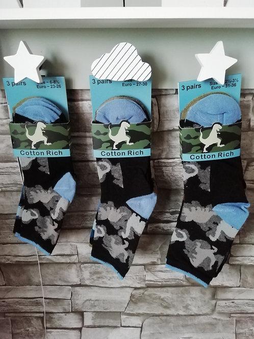 Boys Cotton Rich 3Pk Design Socks  (Dinosaurs)