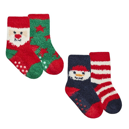 BABY CHRISTMAS 2 PACK COSY SOCKS WITH GRIPPERS