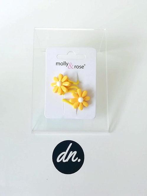 Daisy flower elastics - 2 Pk - Yellow Flower