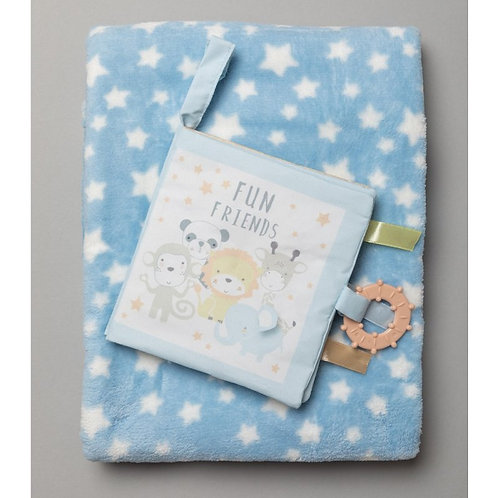 Baby Boy Fleece Blanket and Soft Book Set