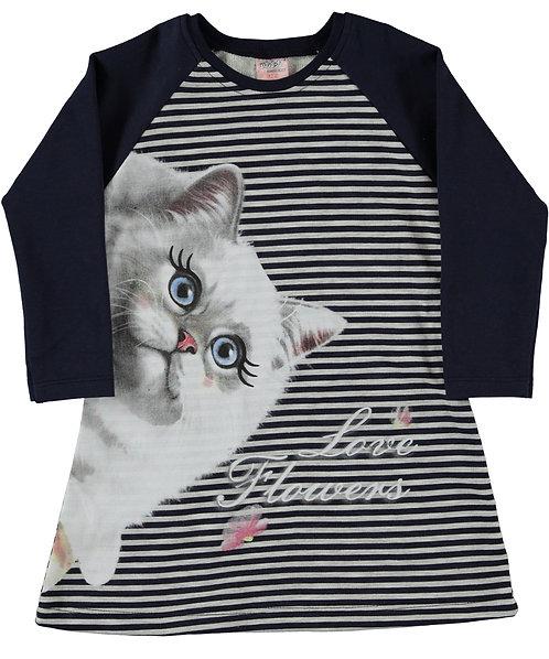 Navy Stripe Cat Tunic Dress