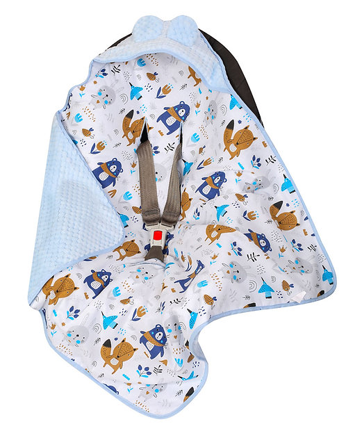 Baby Car Seat Blanket, Blue bear