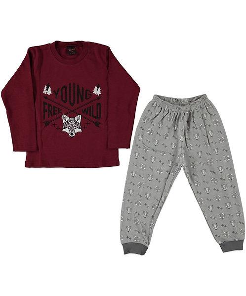 Boys Wild Pyjama's - Burgundy / Grey
