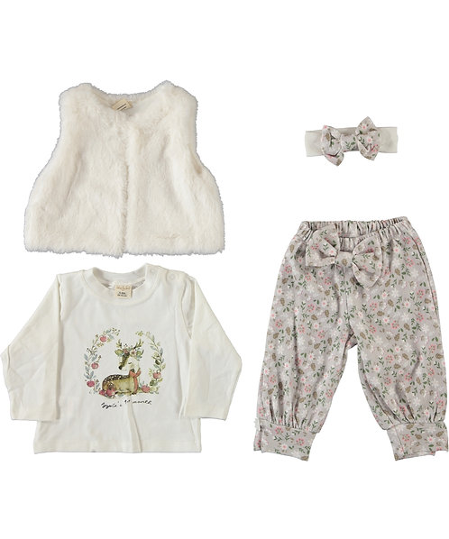 Baby Girl Fur Gillet 4 Pcs Set (Grey)