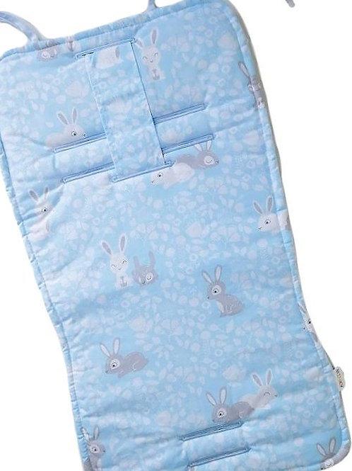 Blue Car Seat Cover, Pram Liner, Bunnies Print Front