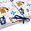 Cot Bumper, white, navy and brown animals, Bear, Fox