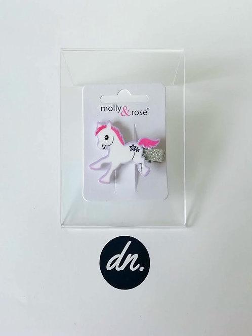 Cute Pony Motif  / Glitter Beak Clip -White