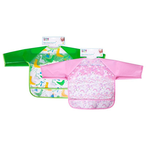 Waterproof Wipe Clean Long Sleeve Bib, Green with Dinosaur Print, Pink with Unicorn Print, with long pocket at the bottom