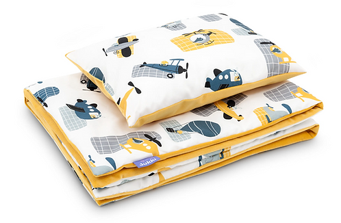 Baby Boy Bedding Set, Yellow, Printed, Blanket, Pillow