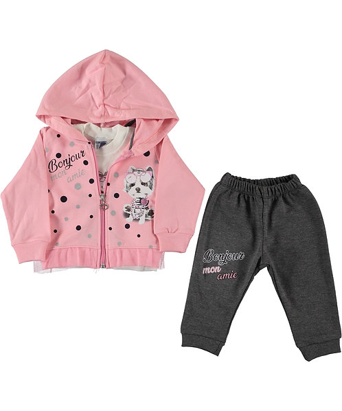 Baby Girl Pink / Grey Tracksuit, 3 pieces set with zip through hoody