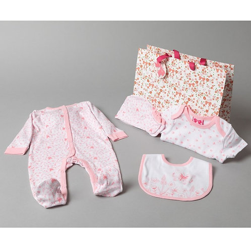 BABY GIRLS FLORAL BUTTERFLY 6 PIECE MESH BAG GIFT SET (NB-6 M)