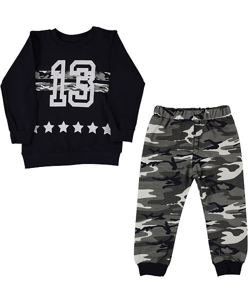 Boys nr 13 tracksuit Black Grey with Camo Print