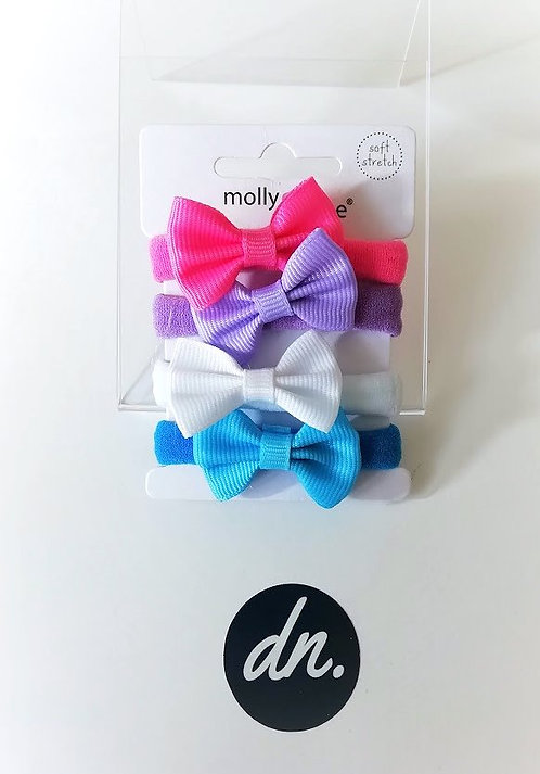 Soft Jersey Fabric Elastics with Bow (Pink/Blue/White/Lilac)