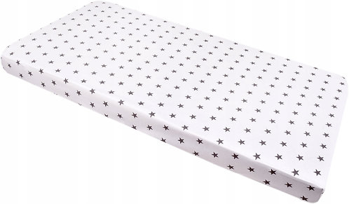 Fitted Cot Sheet, White with Grey Stars